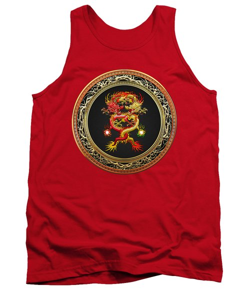 Brotherhood Of The Snake - The Red And The Yellow Dragons On Red Velvet Tank Top by Serge Averbukh
