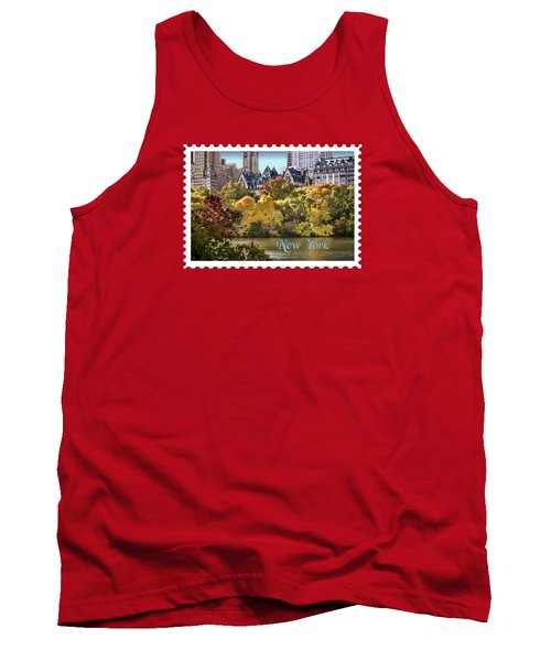 Central Park Lake In Fall Text New York Tank Top by Elaine Plesser