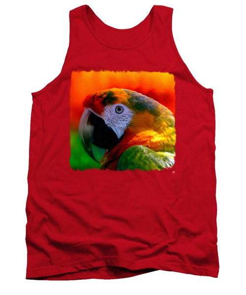 Colorful Macaw Parrot Tank Top by Linda Koelbel