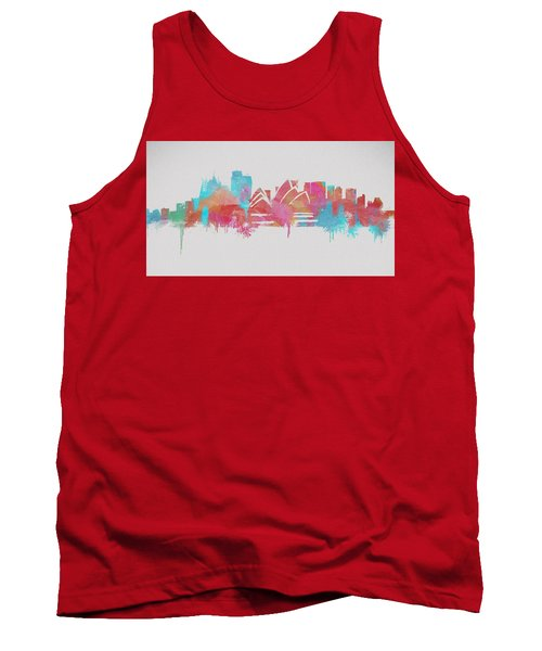 Colorful Sydney Skyline Silhouette Tank Top by Dan Sproul