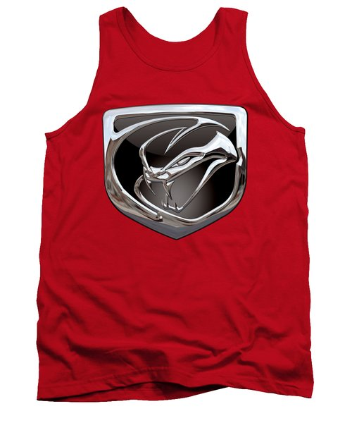 Dodge Viper - 3d Badge On Red Tank Top by Serge Averbukh
