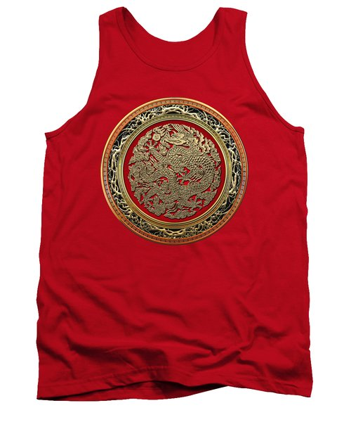 Golden Chinese Dragon On Red Velvet Tank Top by Serge Averbukh