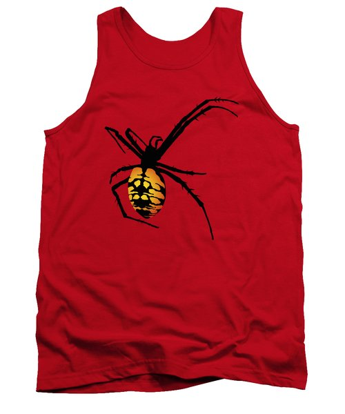 Graphic Spider Black And Yellow Orange Tank Top by MM Anderson