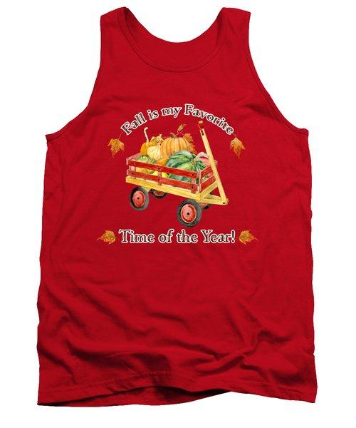 Harvest Red Wagon Pumpkins N Leaves Tank Top by Audrey Jeanne Roberts