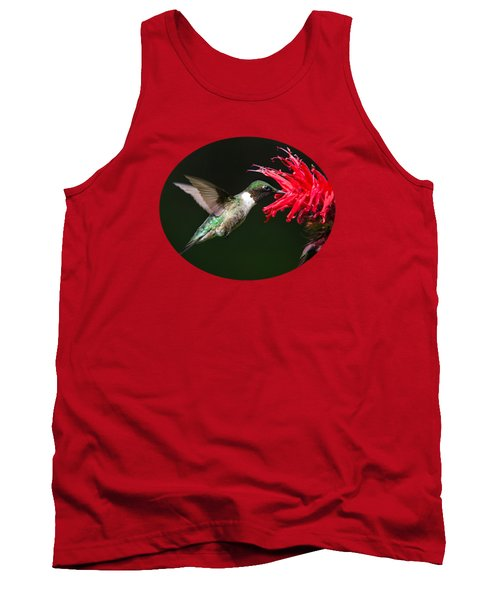 Male Ruby-throated Hummingbird With Red Flower Tank Top by Christina Rollo