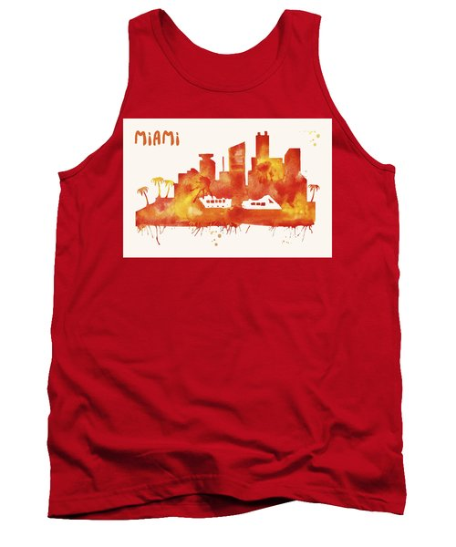 Miami Skyline Watercolor Poster - Cityscape Painting Artwork Tank Top by Beautify My Walls