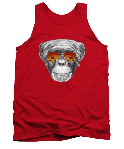 Monkey With Mirror Sunglasses Tank Top by Marco Sousa