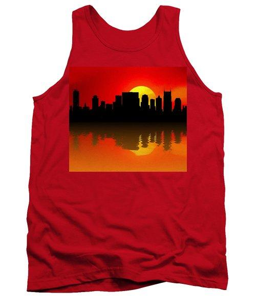 Nashville Skyline Sunset Reflection Tank Top by Dan Sproul