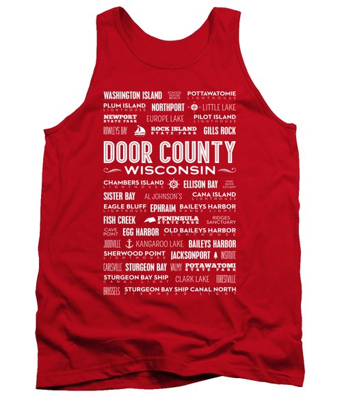 Places Of Door County On Red Tank Top by Christopher Arndt