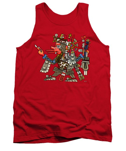 Quetzalcoatl In Human Warrior Form - Codex Borgia Tank Top by Serge Averbukh