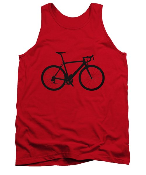 Road Bike Silhouette - Black On Red Canvas Tank Top by Serge Averbukh