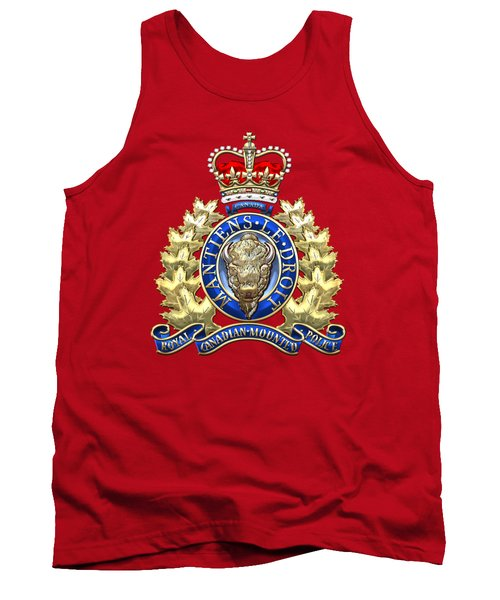 Royal Canadian Mounted Police - Rcmp Badge On Red Leather Tank Top by Serge Averbukh