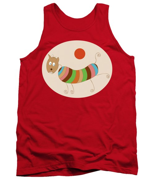 Sausage Dog In Ketchup Sunset Tank Top by Frank Tschakert