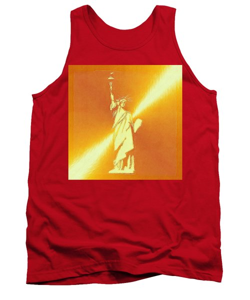 Sunstrike On Statue Of Liberty Tank Top by Clive Littin