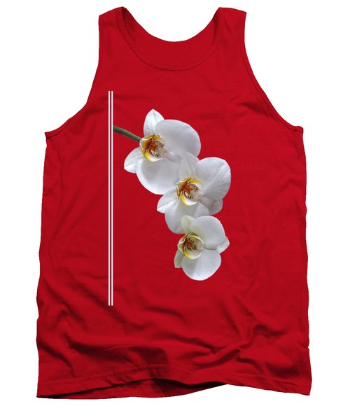 White Orchids On Terracotta Vdertical Tank Top by Gill Billington