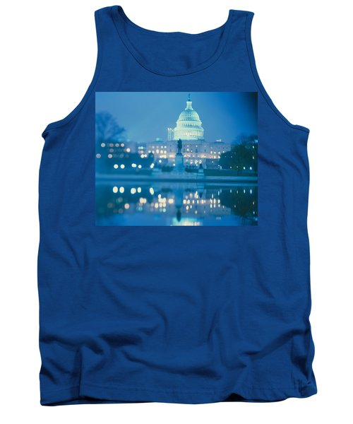 Government Building Lit Up At Night Tank Top by Panoramic Images