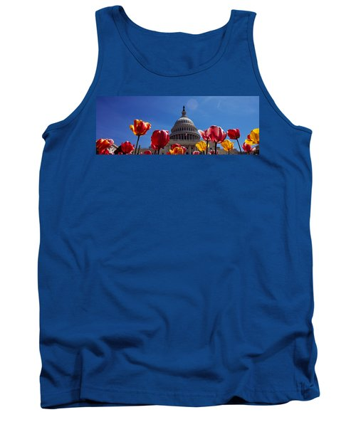Tulips With A Government Building Tank Top by Panoramic Images