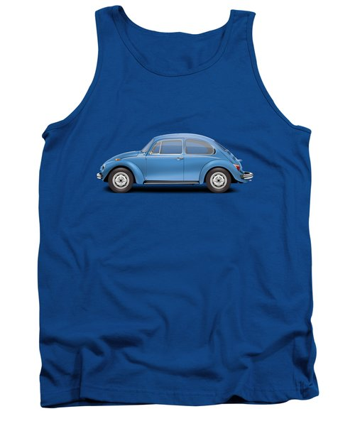1975 Volkswagen Super Beetle - Ancona Blue Metallic Tank Top by Ed Jackson