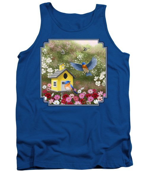 Bluebirds And Yellow Birdhouse Tank Top by Crista Forest