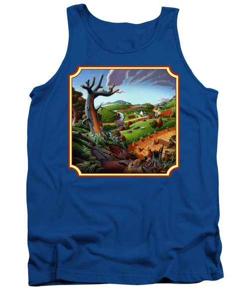 Autumn Wheat Harvest Country Farm Life Landscape - Square Format Tank Top by Walt Curlee