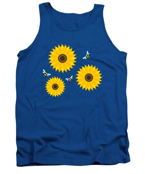 Busy Bees And Sunflowers - Large Tank Top by Shara Lee