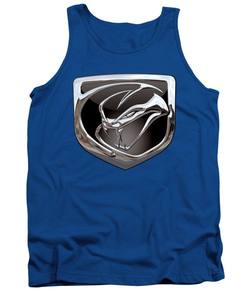 Dodge Viper 3 D  Badge Special Edition On Blue Tank Top by Serge Averbukh