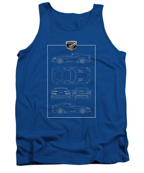 Dodge Viper  S R T 10  Blueprint With Dodge Viper  3 D  Badge Over Tank Top by Serge Averbukh