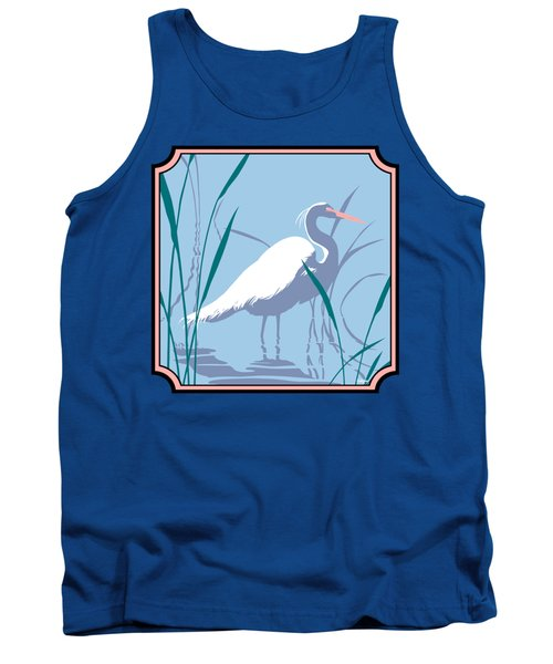 Egret Tropical Abstract - Square Format Tank Top by Walt Curlee