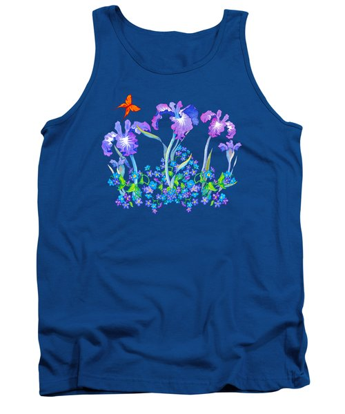 Iris Bouquet With Forget Me Nots Tank Top by Teresa Ascone