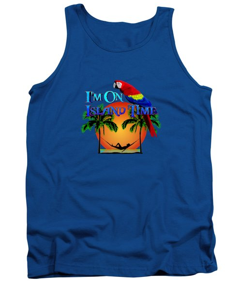 Island Time And Parrot Tank Top by Chris MacDonald