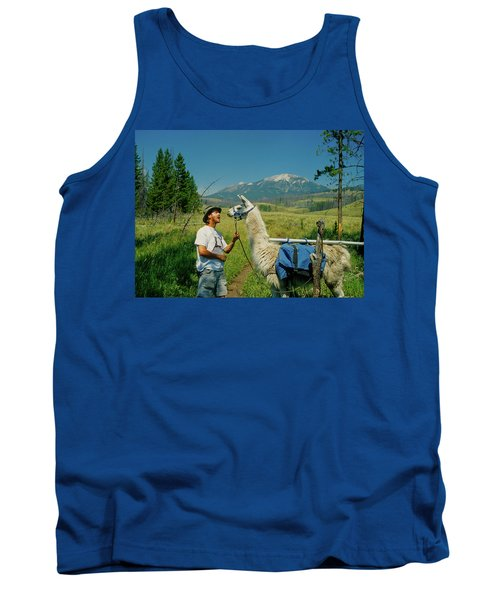 Man Teasing A Llama Tank Top by Jerry Voss