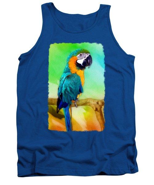Maya - Macaw Parrot  Tank Top by Linda Koelbel