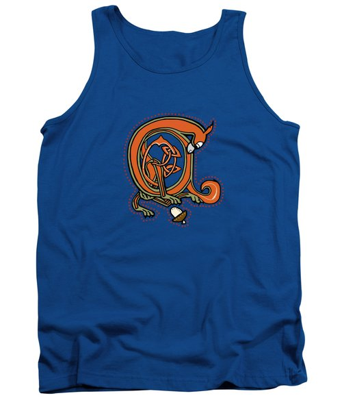 Medieval Squirrel Blue A Tank Top by Donna Huntriss