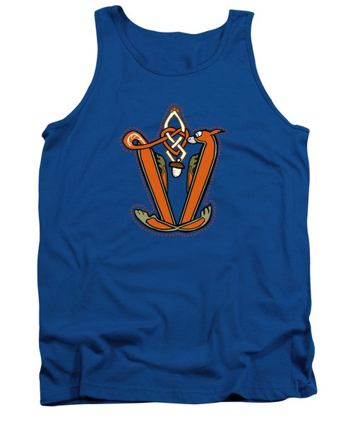 Medieval Squirrel Letter V Tank Top by Donna Huntriss