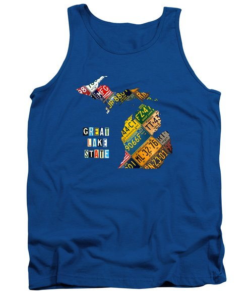 Michigan License Plate Map Great Lake State With Vintage Blue Plate Background Edition Tank Top by Design Turnpike
