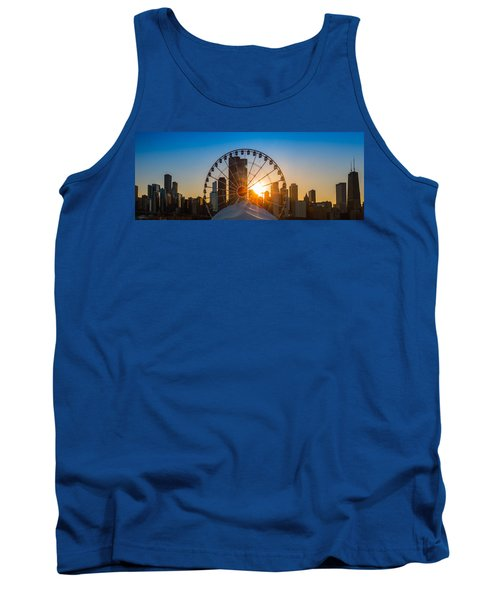 Navy Pier Sundown Chicago Tank Top by Steve Gadomski