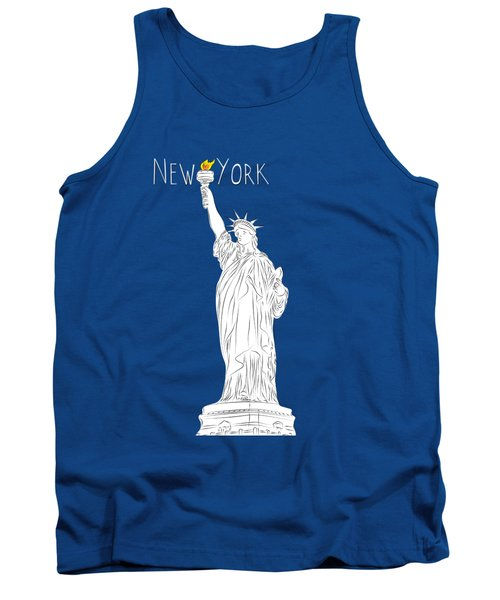 Ny Statue Of Liberty Line Art Tank Top by Bekare Creative