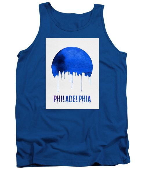 Philadelphia Skyline Blue Tank Top by Naxart Studio