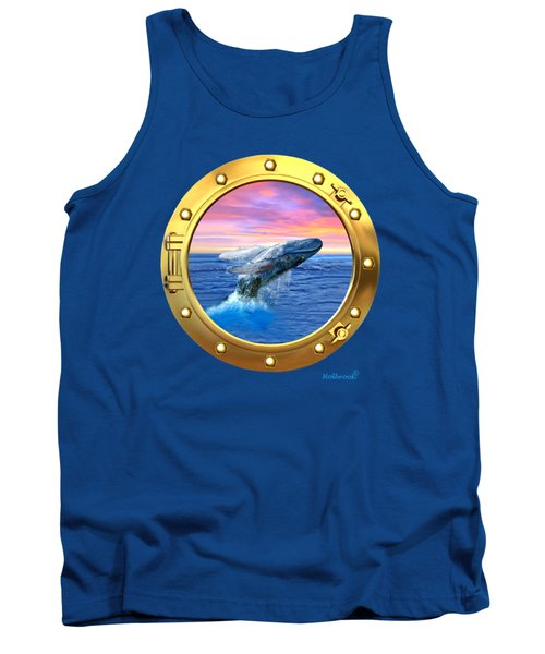 Porthole View Of Breaching Whale Tank Top by Glenn Holbrook