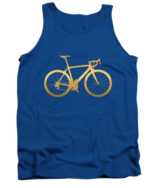 Road Bike Silhouette - Gold On Beige Canvas Tank Top by Serge Averbukh