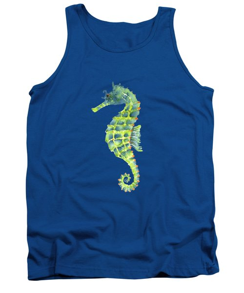 Teal Green Seahorse - Square Tank Top by Amy Kirkpatrick
