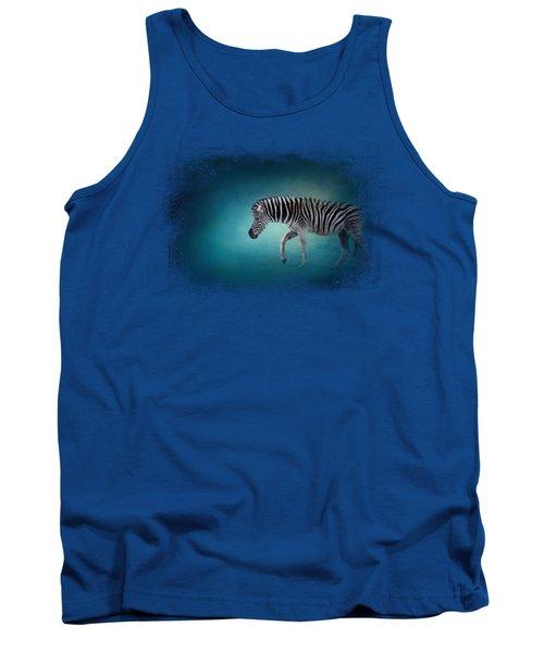 Zebra In The Moonlight Tank Top by Jai Johnson