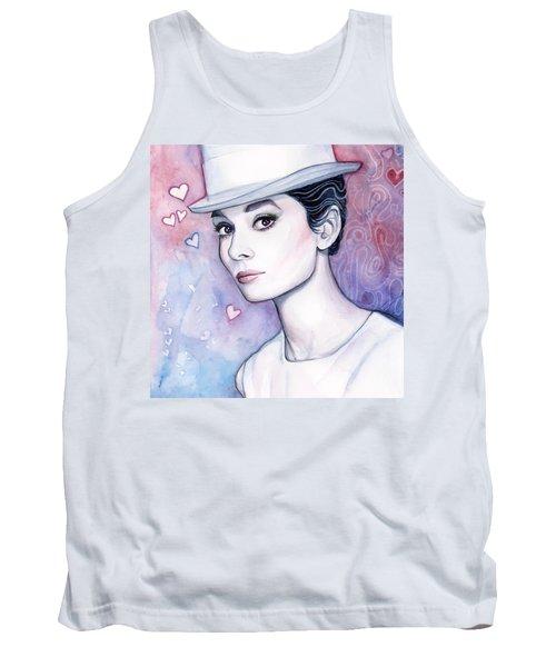 Audrey Hepburn Fashion Watercolor Tank Top by Olga Shvartsur