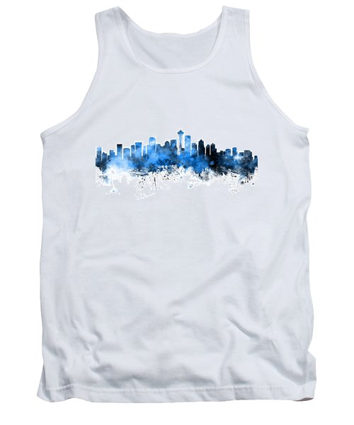 Seattle Washington Skyline Tank Top by Michael Tompsett