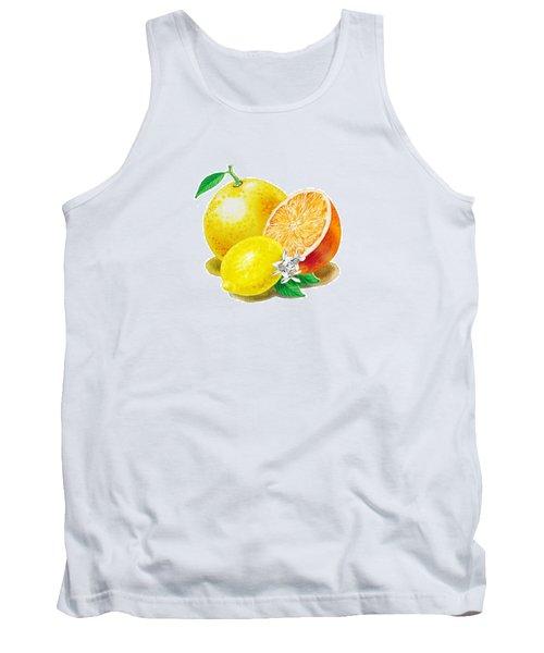 A Happy Citrus Bunch Grapefruit Lemon Orange Tank Top by Irina Sztukowski