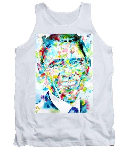 Barack Obama - Watercolor Portrait Tank Top by Fabrizio Cassetta