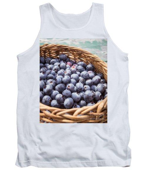 Basket Of Fresh Picked Blueberries Tank Top by Edward Fielding