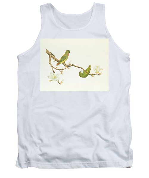 Blue Crowned Parakeet Hannging On A Magnolia Branch Tank Top by Chinese School