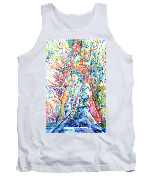 Bruce Springsteen And Clarence Clemons Watercolor Portrait Tank Top by Fabrizio Cassetta