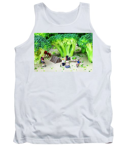 Camping Among Broccoli Jungles Miniature Art Tank Top by Paul Ge